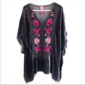 JOHNNY WAS|Collection Velvet Embroidered Tunic Top